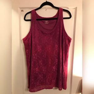 Dusty pink lined lace tank
